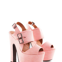 Dorine PU Chunky Wedge Shoe with Buckles in Pink at Fashion Union