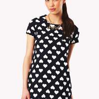 Amal Heart Print Shift Dress in Navy at Fashion Union
