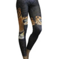 Carrie's Closet - Black/Brown Spots with Leopard in Cross Leggings