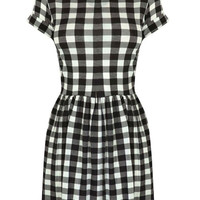Lester Gingham Skater Dress with Short Sleeves in Black at Fashion Union