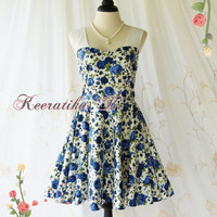 A Party Princess - Retro Vintage Inspired Blue Sundress Blue Floral Party Dress Bridesmaid Prom Dress Spring Summer Tea Dress Custom Made