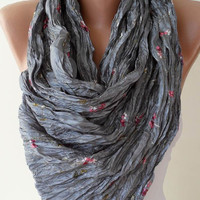 Grey Scarf Silky Embroidered Fabric by SwedishShop on Etsy