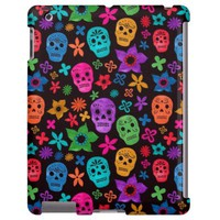 Colorful Floral Sugar Skull Pattern iPad Case