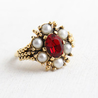 Vintage Ruby Red Stone & Faux Pearl Flower Cluster Ring - Adjustable Gold Tone Hallmarked Avon Victorian Revival Rhinestone Costume Jewelry