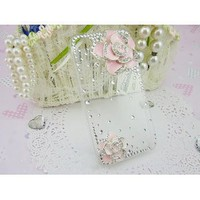3d Bling Crystal Rhinestone Flower Transparent Case Cover for Apple Iphone 4 and 4s (Color: Pink)