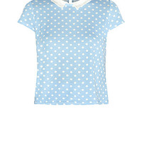 Pastel Blue Cap Sleeve Polka Dot Boxy Top