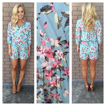 Flower Bomb 3/4 Sleeve Romper