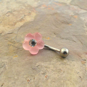 Light Pink Flower Belly Button Jewelry Ring