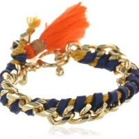 Ettika Leather and Gold Chain Tassel and Toggle Closure Bracelet, 7""