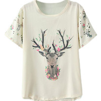 ROMWE Pretty Elk and Floral Print T-shirt
