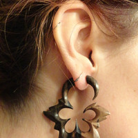 Floral Star Fake Gauge Earrings Faux Plugs Tapers Organic Carved Wood