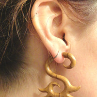 Tribal Teak Wood Fake Gauge Earrings Faux Plugs Tapers Organic Carved Wood