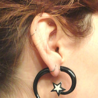 Tribal Star HornFake Gauge Earrings Faux Plugs Tapers Organic Carved Wood