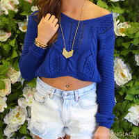 Seaside Navy Crop Top Cable Knit Sweater