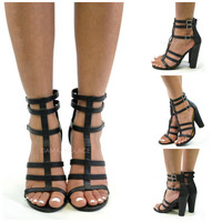 Fortuna Black Gladiator Heels