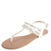 RHINESTONE & METALLIC BRAIDED THONG SANDALS
