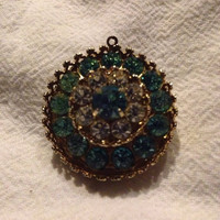 Vintage Coro Rhinestone Pendant Blue and Clear Rhinestone Costume Jewelry Gift