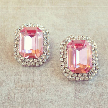 Swarovski Champagne Pink Crystal Earrings