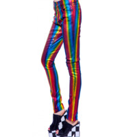 Discover an all season look with the Fashion Revelation Needle-Rainbow Strip Foil Twill Skinny Jeans by 24 Hrs. Featuring needle-rainbow striped foil over dyed throughout, soft stretch twill, belt loops, single zip fly with shank button closure, five pocke