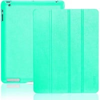 INVELLOP TURQUOISE / TEAL Leatherette Cover Case for iPad 2 / iPad 3 / iPad 4 (Built-in magnet for sleep/wake feature)