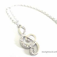 Music Treble Clef Charm Necklace with Rhinestones for Musician/Singer | StarlightSarah - Jewelry on ArtFire