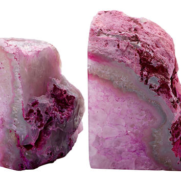 Pair of Stone Bookends, Pink