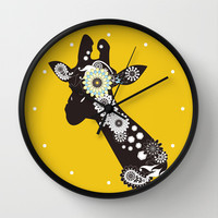 Funky Paisley Giraffe Cool Round Wall Clocks: Funny Wild Animal Design: Available in Natural Wood, Black or White Frames