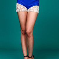 Blue Crochet Trim Shorts