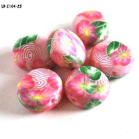 Pink Flower Beads Coin Jewelry Making Supplies Handmade Polymer Clay