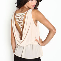 STRAPPY COWL BACK TOP