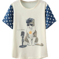 ROMWE Cartoon Cat and Stars Print T-shirt