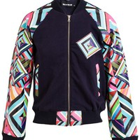 HOUSE OF HOLLAND | Kaleidoscope Leather and Sweatshirt Varsity Jacket | Browns fashion & designer clothes & clothing