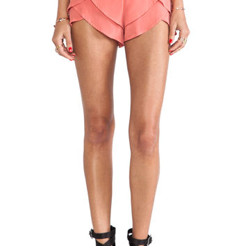 MERRITT CHARLES Natalia Tiered Shorts in Coral