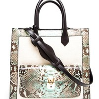 BALENCIAGA | Padlock Work Large Python and Leather Tote | Browns fashion & designer clothes & clothing