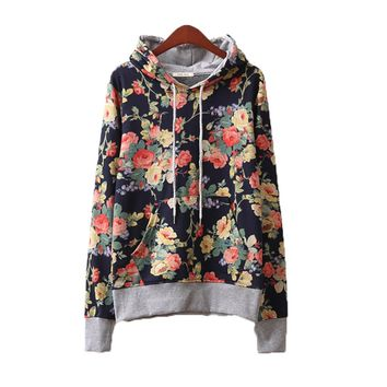 Floral Flowers Casual Hooded Hoodie For Women