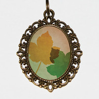 Maple Leaf Necklace Oval Pendant