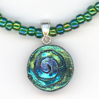 Blue Green Round Pendant Dichroic Glass Beaded Necklace by Lehane