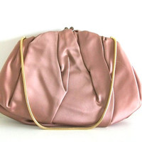 Vintage Ingber 1960s Plum Satin Clutch Purse