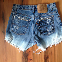 High rise Aztec studded shorts