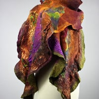 RESERVED Abstract Felted scarf Merino wool , silk earthy tones collage, Green, Rust handdyed