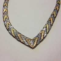"14K Sterling Necklace Italian Yellow Rose Gold Silver 40 Grams 925 Italy 18"" Tri-Color Tri Chain Woven Braided Herringbone Prom Bridal Gift"