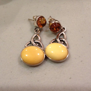 Amber Sterling Earrings Silver Yellow Brown 925 Celtic Trinity Knot Baltic Polish Poland Vintage Jewelry Irish Ireland Artisan Handmade