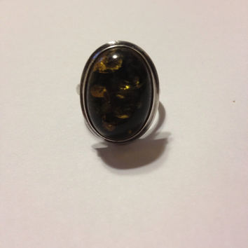Green Amber Sterling Ring Silver Size 6 Polish Poland Baltic Vintage 925 Jewelry Handmade Boho Artisan Southwestern Cocktail Bridal Gift