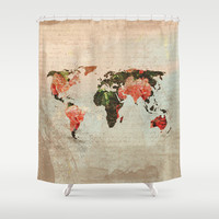 Vintage World Map Shower Curtain by MJ'designs