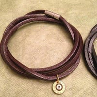 Brown Leather and Gold Bullet Wrap Bracelet