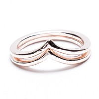 ROSE GOLD CHEVRON 2 RING SET
