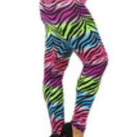 Carrie's Closet - high waist zebra print plus size leggings in neon pink purple lime blu
