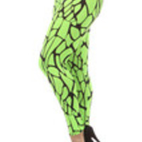 Carrie's Closet - neon lime green giraffe print plus size leggings