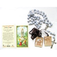 Blessed By Pope Benedict XVI Our Lady Fatima Rosary Holy Card and Brown Scapular