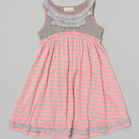 Pink & Gray Stripe & Flower Dress - Girls | something special every day